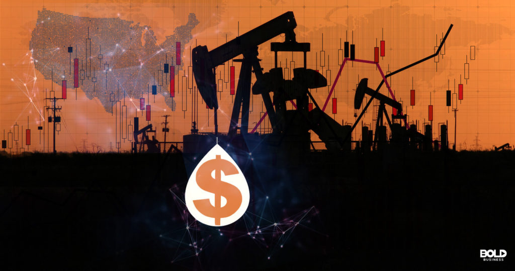 Custom Graphic featuring map of united states and oil drilling rig producing dollar sign