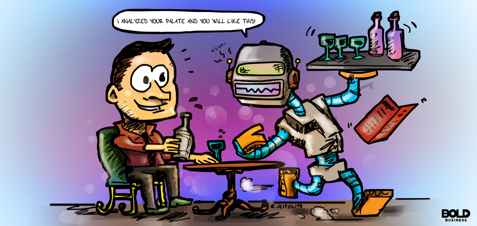 cartoon of a robot serving wine to a human