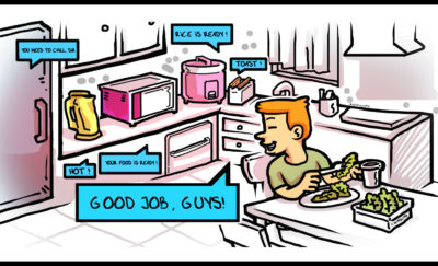 cartoon of boy eating in a smart kitchen surrounded by talking appliances
