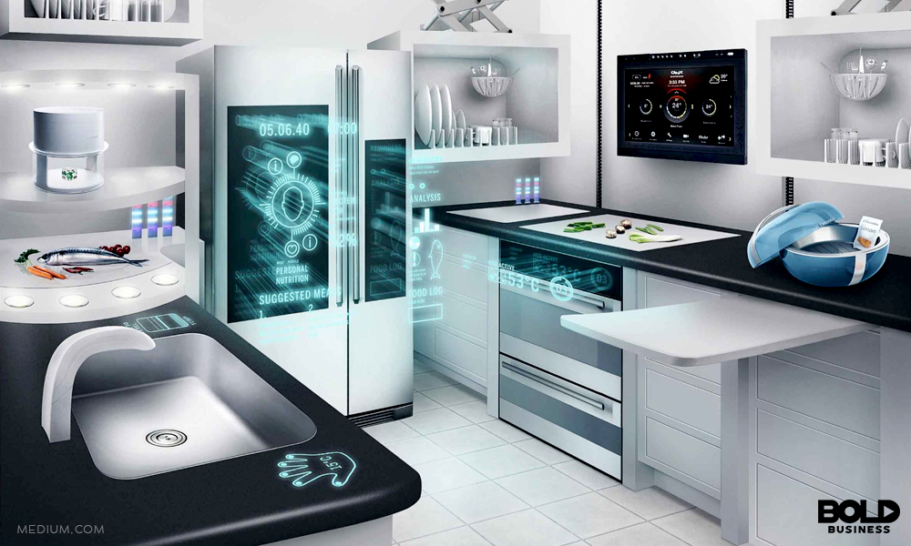 smart kitchen with refrigerator sensors turned on
