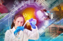 Combination of photos representing chemical industry and two scientists working in lab
