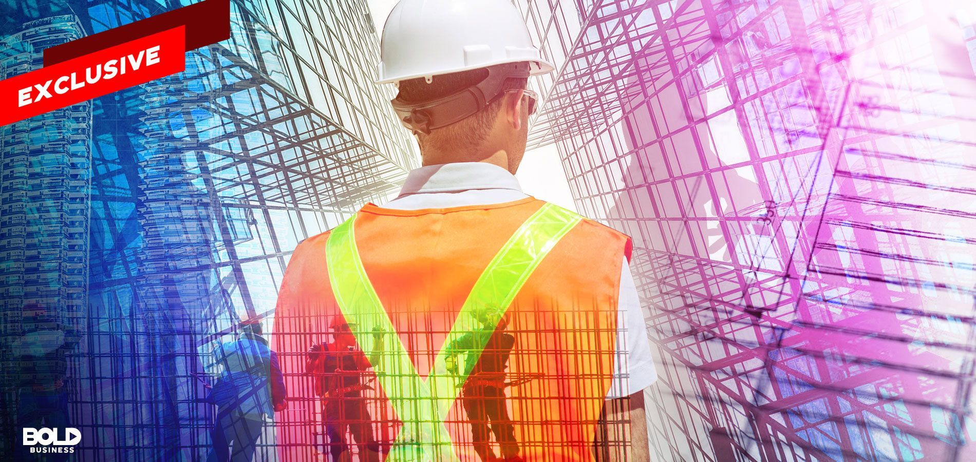 Man in construction uniform and hardhat surrounded by architecture renderings
