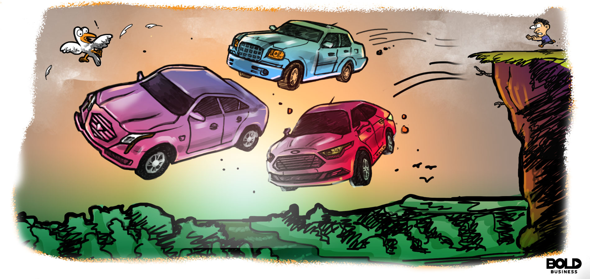 cartoon of man pushing three american sedans off cliff