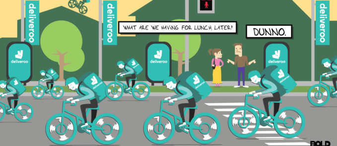 Cartoon of deliveroo food delivery service - delivery drivers on bikes
