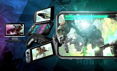 mobile phones showing different online games