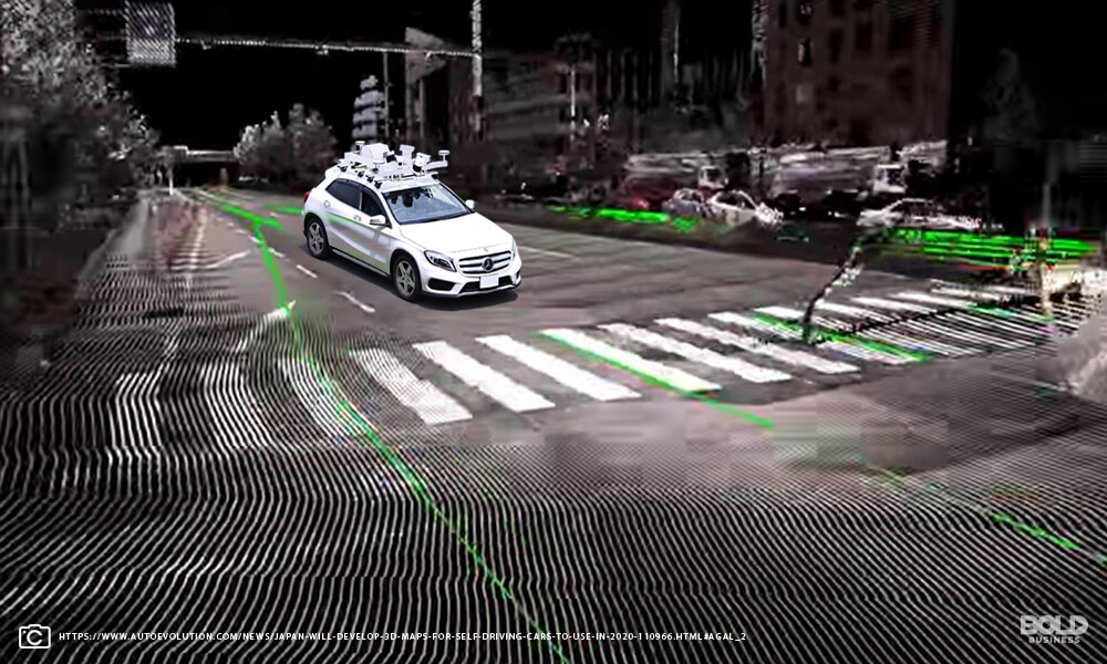 Image of autonomous car attached with camera and sensors