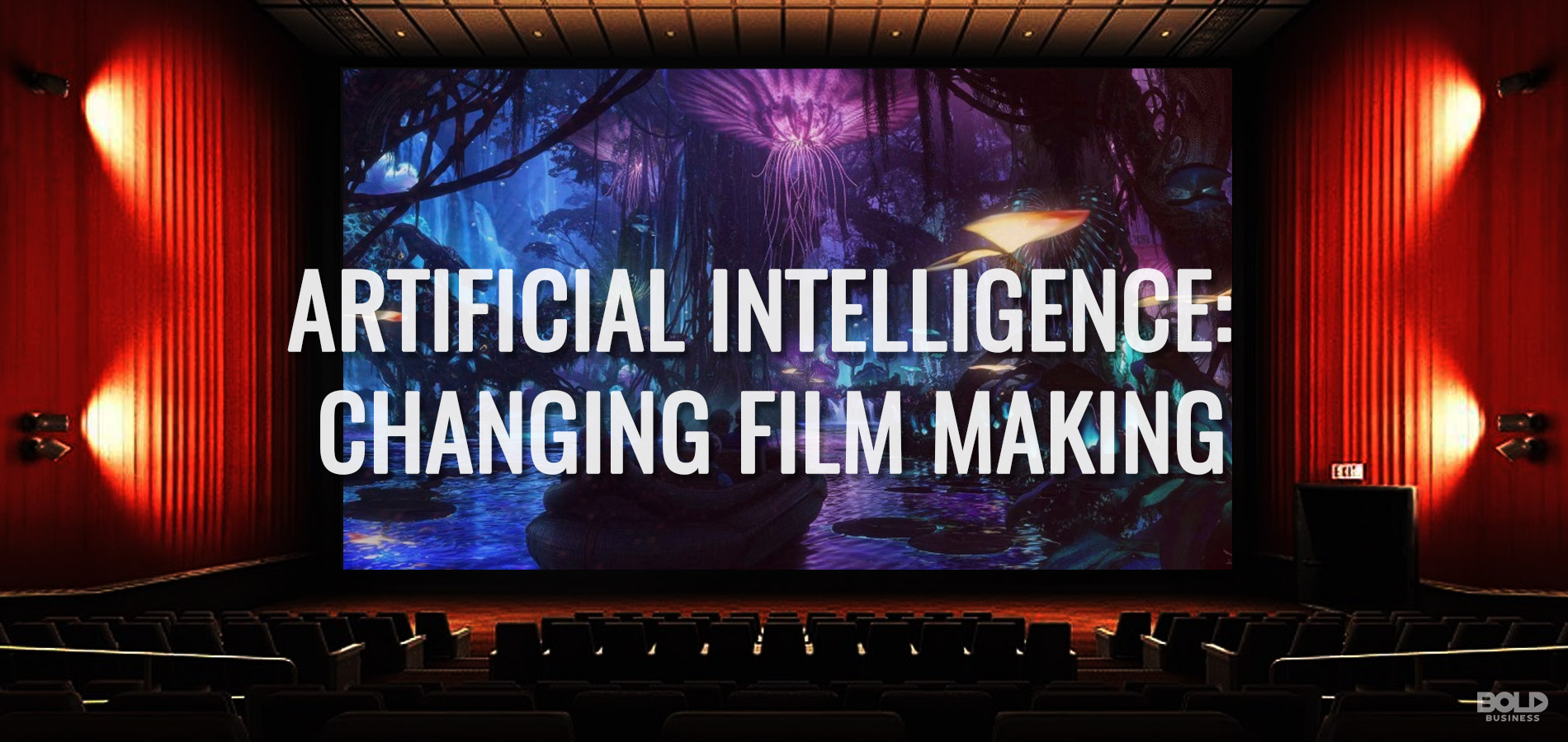 movie theater screen showing AI in Film Making