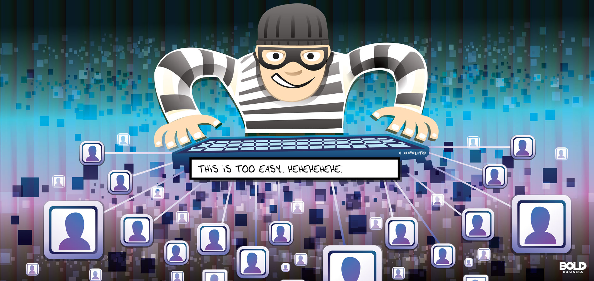 cartoon featuring cyber criminal grinning over hacked computers