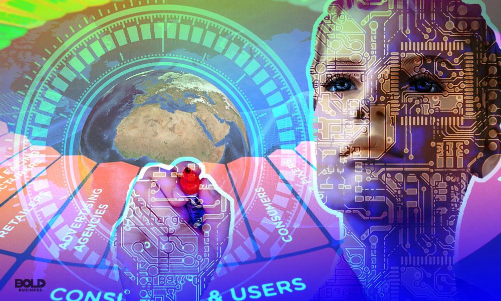 robotic female writing digital codes showcasing AI in Marketing