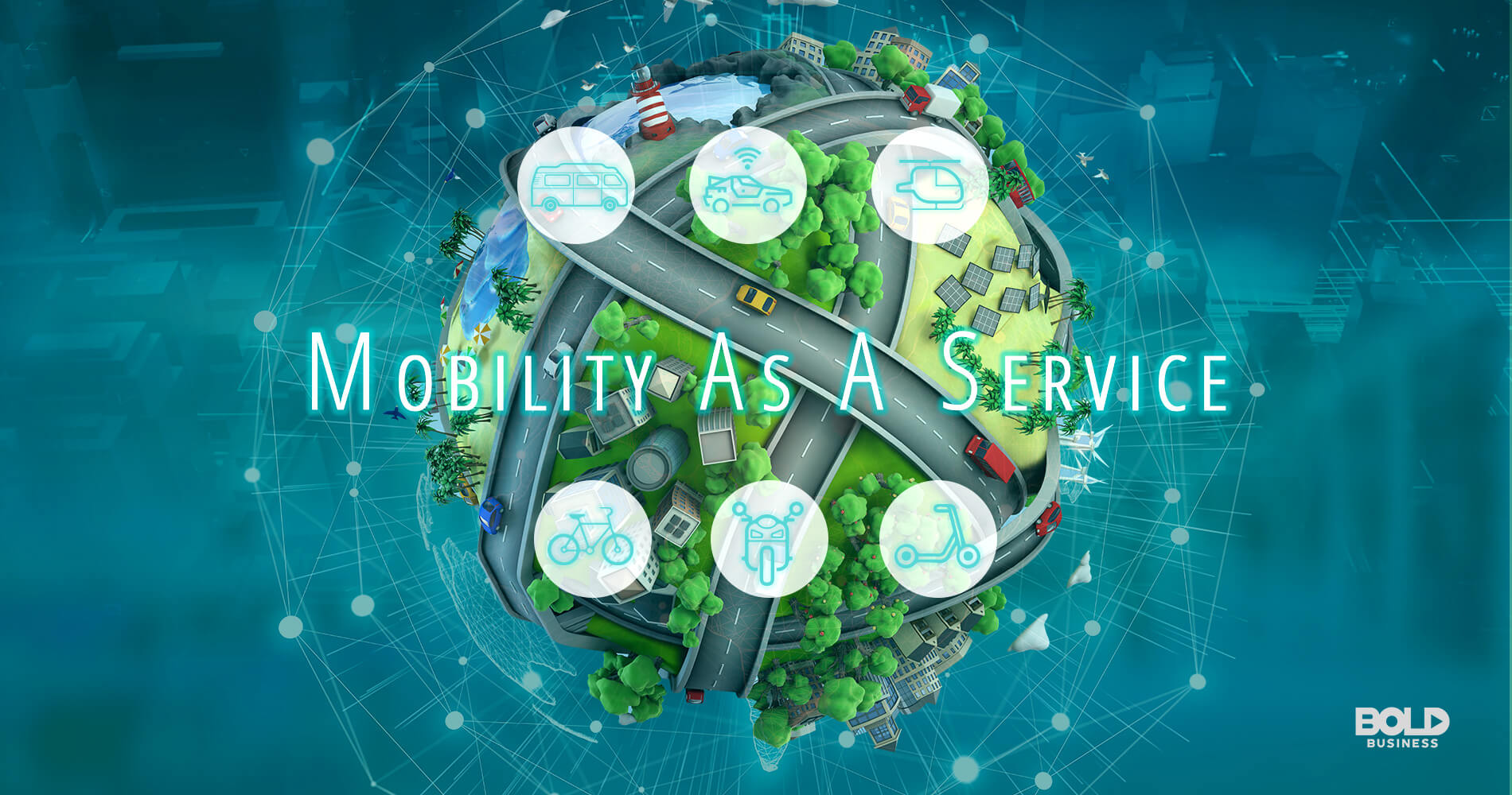 Image showing a 3d tiny planet with caption of 'Mobility As A Service'