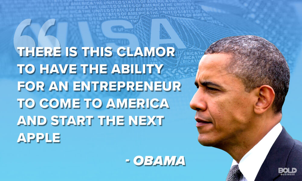 a quote from barack obama and a photo of him on IER, International Entrepreneur Rule