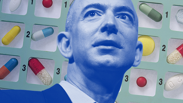 Amazon CEO Jeff Bezos with PillPack Online Pharmacy picture showing Amazon Medicine