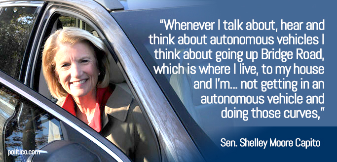photo of Senator Shelley Moore Capito with her quoted statement of concern on self-driving cars