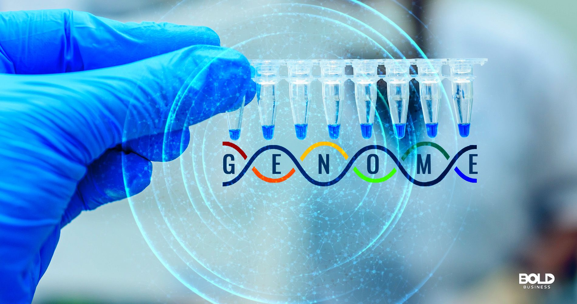 image featuring of genome sample testing and DNA strands