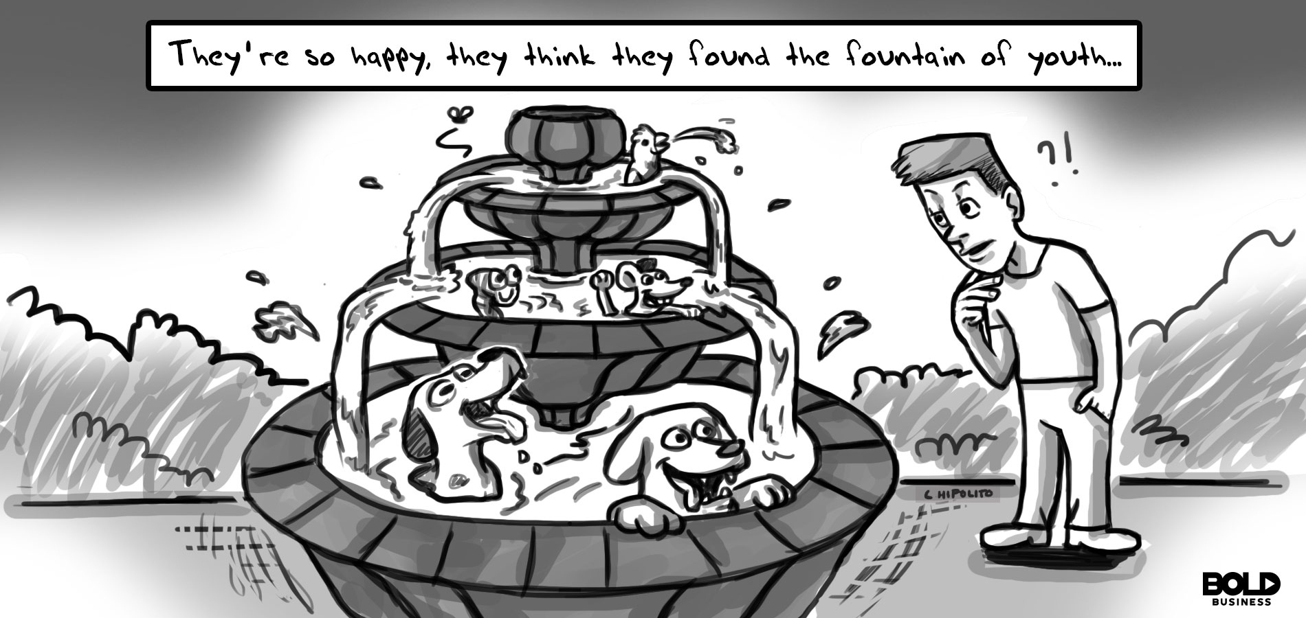Illustrated cartoon of dogs playing in the fountain for the topic the fountain of youth for dogs.