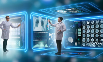 image featuring a futuristic look of telehealth and telemedicine