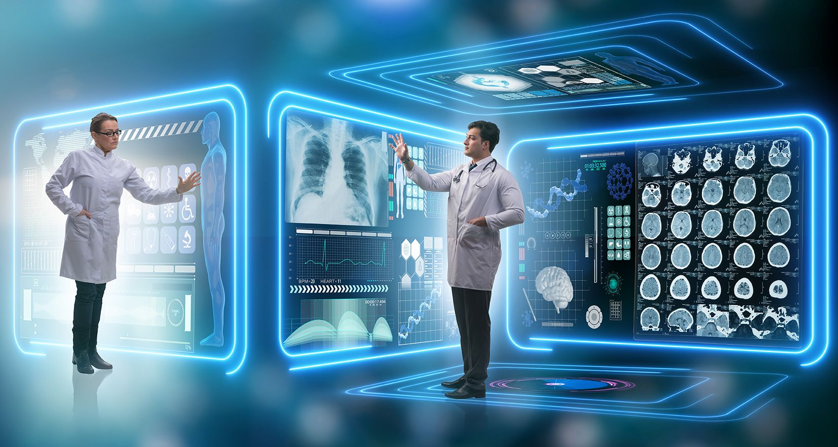 image featuring a futuristic look of telehealth and telemedicine