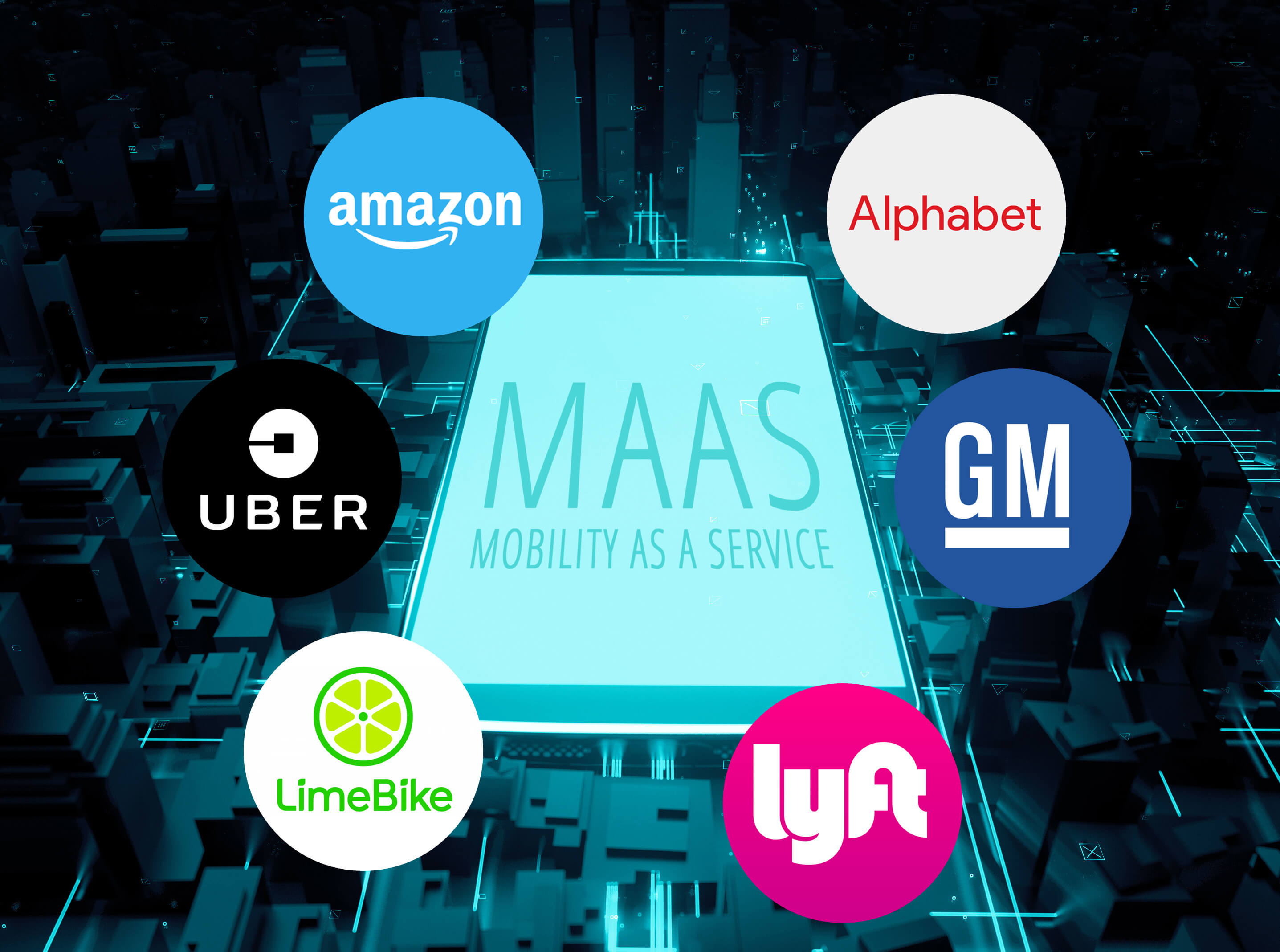 Mobility-as-a-service vendors Uber, Alphabet, Amazon, LimeBike, Lyft and GM