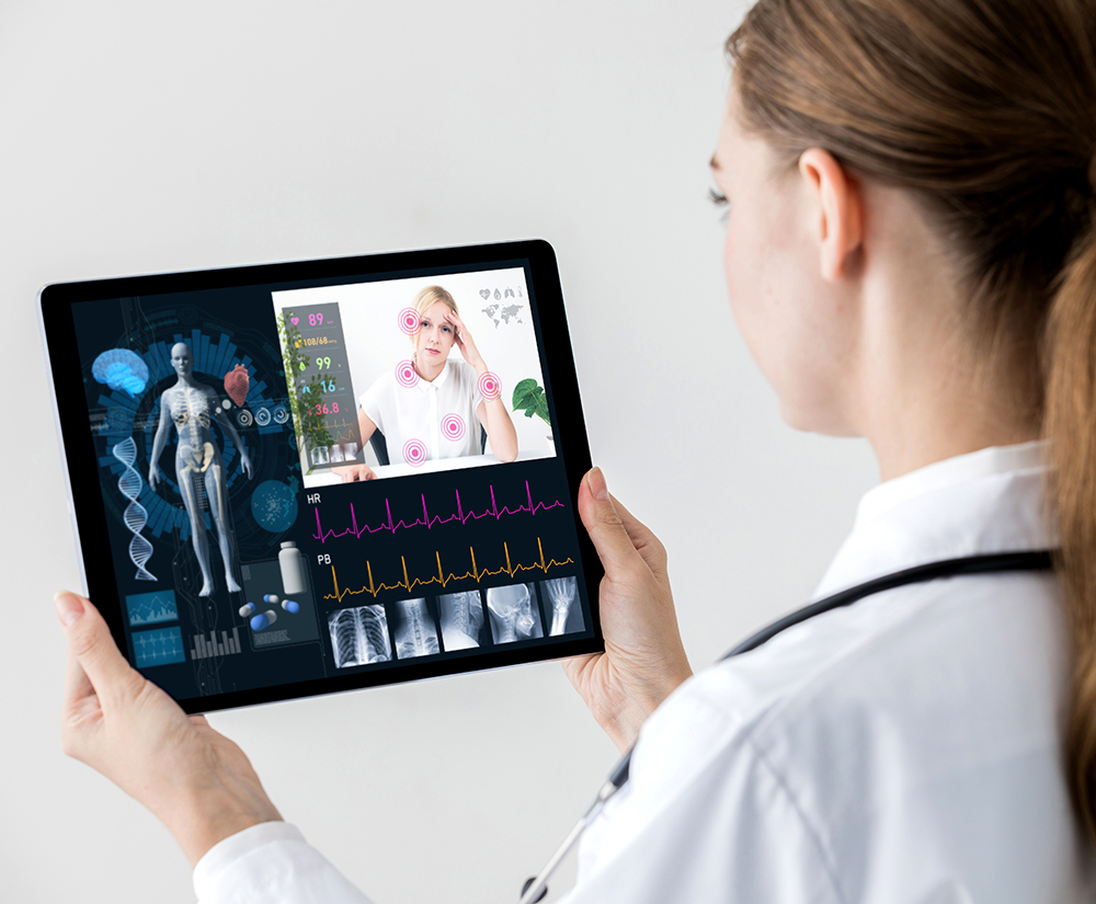 physician checking a patient's vital signs virtually