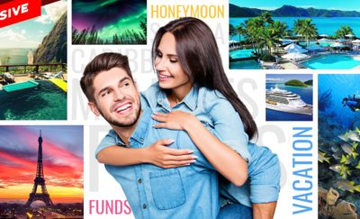 a couple and photos of honeymoon destinations