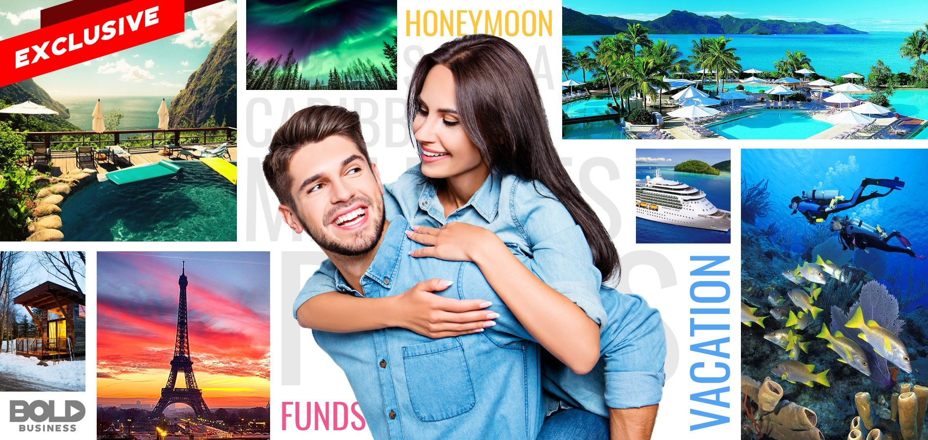 a couple and photos of honeymoon destinations