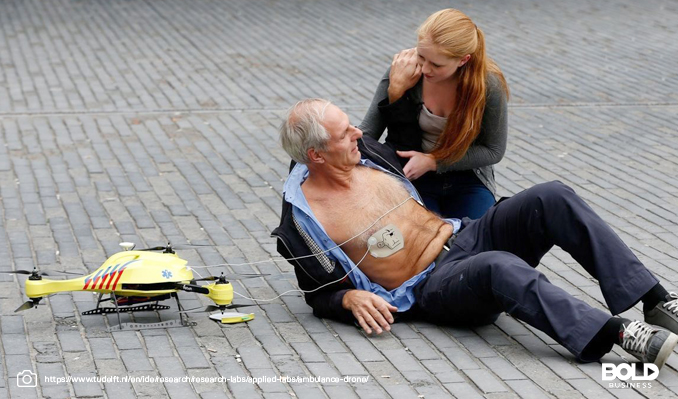 old man getting medical help from a woman and medical drone