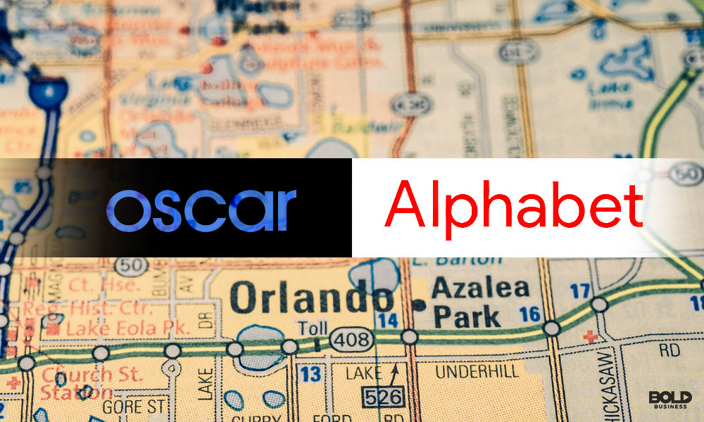 oscar health insurance and alphabet investment and Google investment on foreground of map
