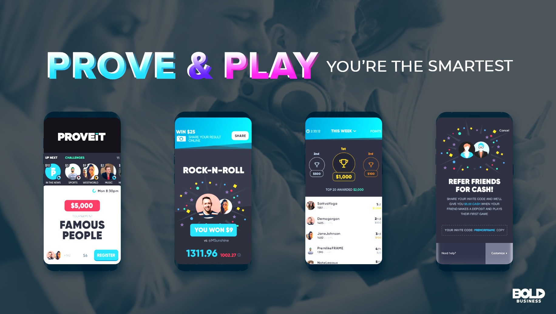 smart phones showing proveit's competitive gaming features with quiz games, skill games, and trivia games