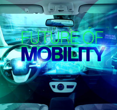 self-driving car with future mobility text