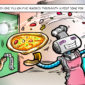 cartoon of a zume robot pizza creating a pizza as a lady cheers it on