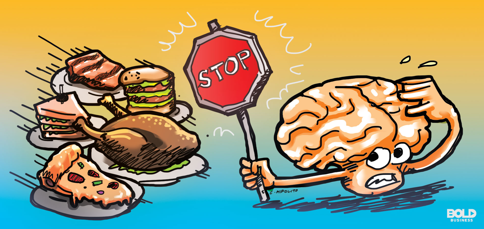 cartoon showing various kinds of food chasing a brain that's holding a stop sign toward their direction