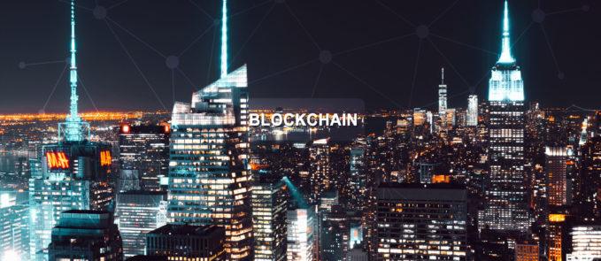 Blockchain in night cityscape