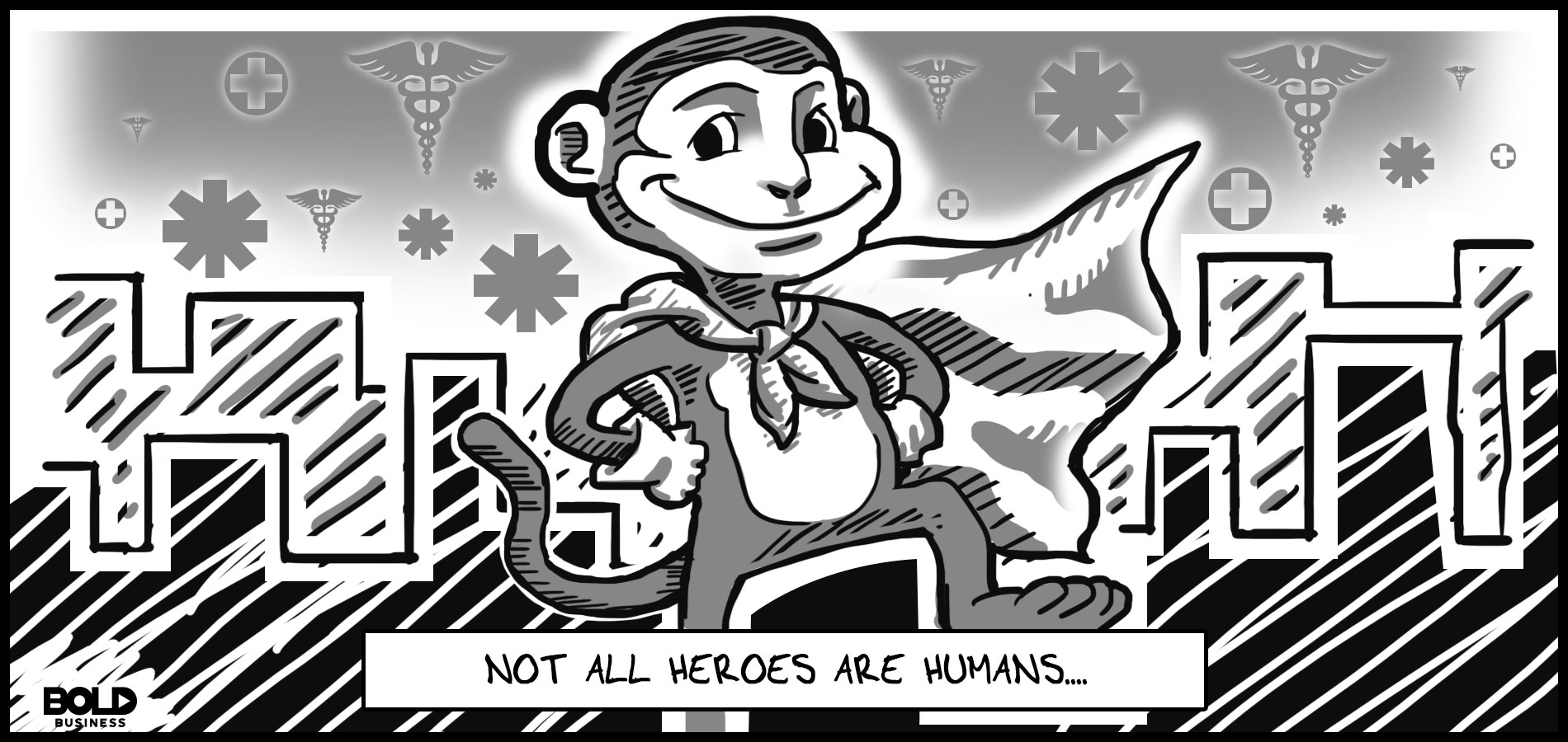 a monochrome cartoon of a rhesus monkey wearing a cape posing as a superhero