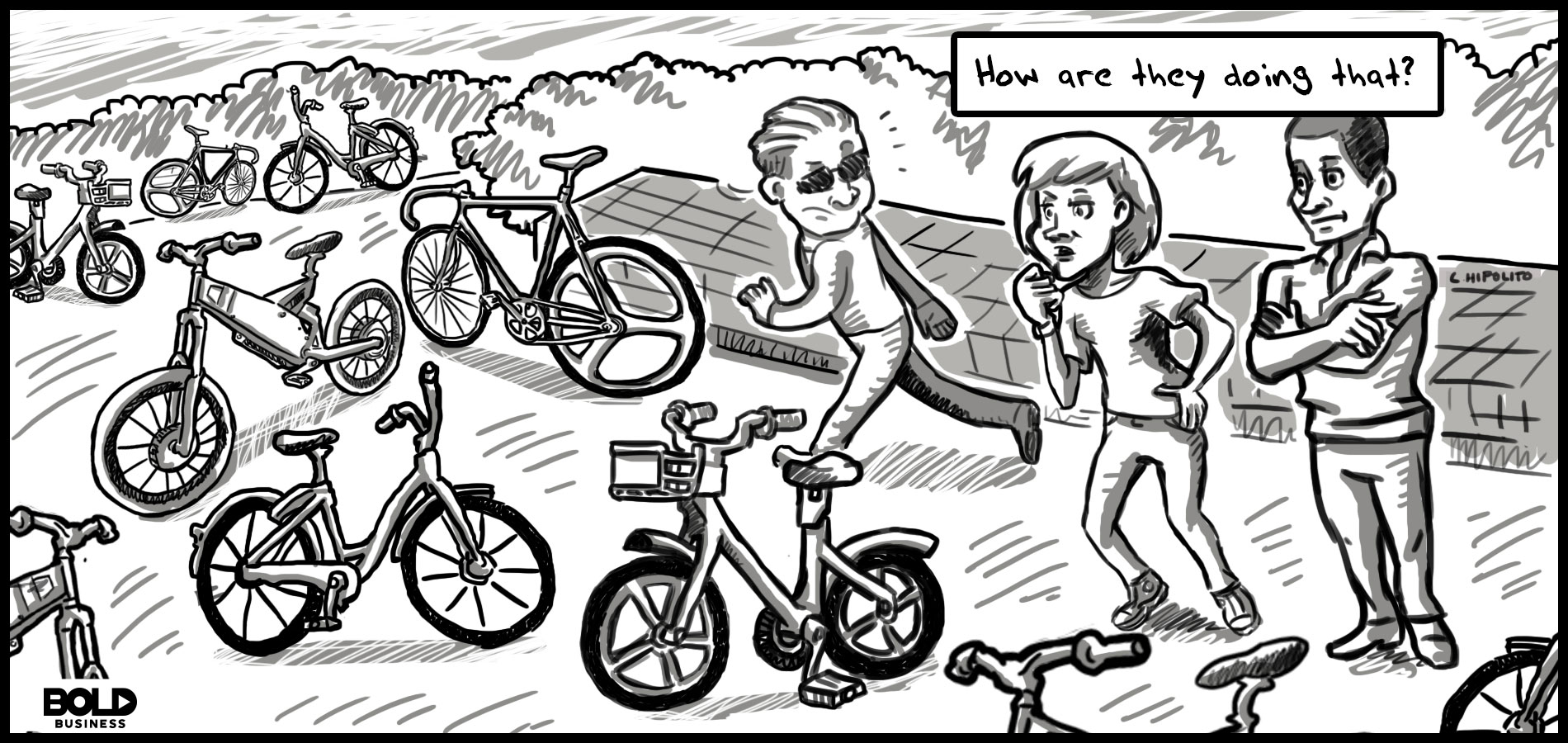 a monochromatic cartoon of three people surrounded by dockless bikes in New York City