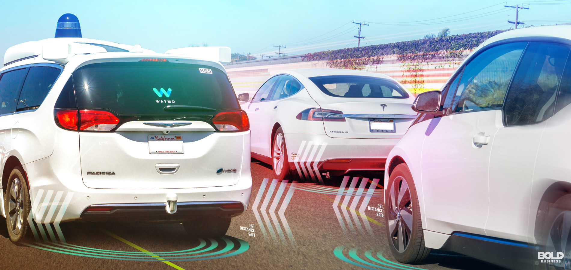 self-driving cars on the road with autonomous cars