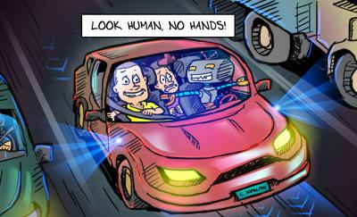 cartoon of a robot in the driver's seat of a self-driving car with two human passengers