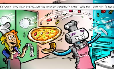 cartoon of a zume robot pizza making a pizza as a waitress beside it cheers it on