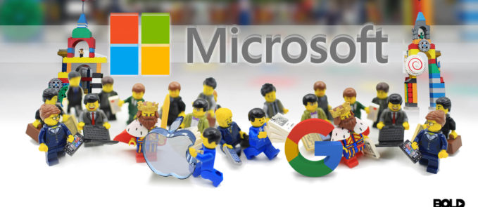 lego characters working together and building a kingdom for Microsoft revenues, Apple, and Google