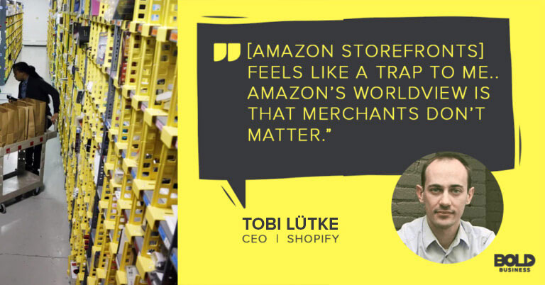 Tobi Lutke Shopify CEO discussing impact of Amazon Storefronts and Amazon for small business