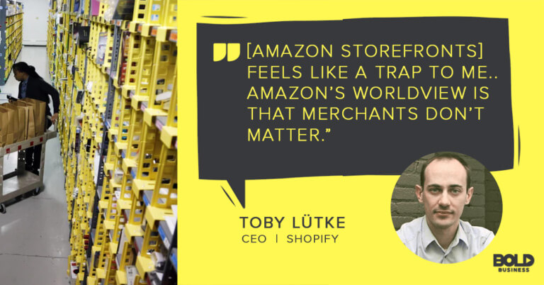 a photo quote about Amazon Storefronts by Toby Lutke