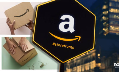 a logo of Amazon Storefronts in front of photos of a building and two boxes