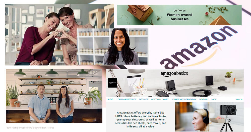 a photo collage of Amazon Storefronts clients and products