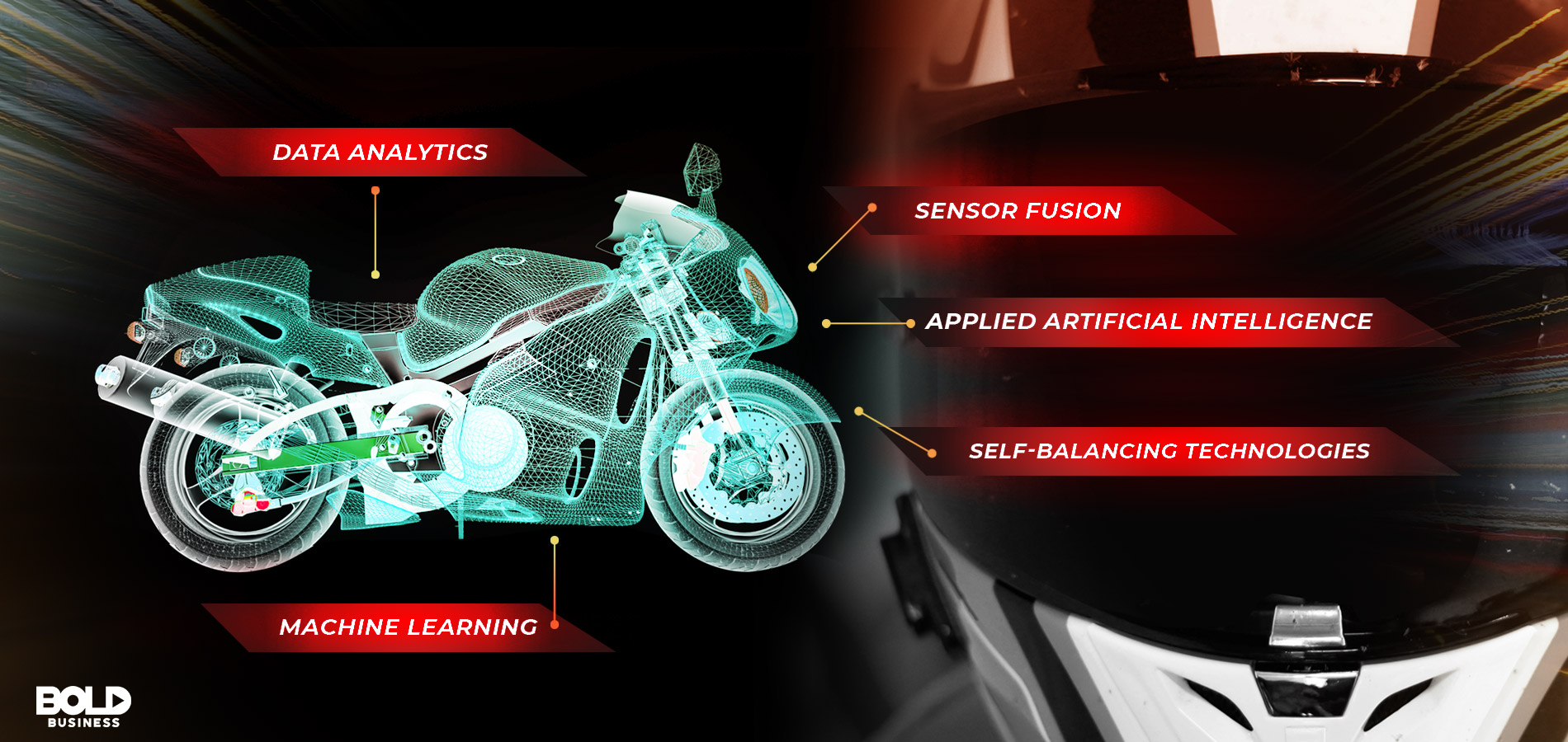 Autonomous Motorcycle 3D with labels of key features, honda automatic motorcycle