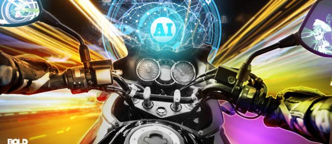 autonomous motorcycle driving towards AI