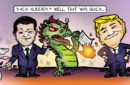 china oil import satire with xi jinping, a dragon and donald trump