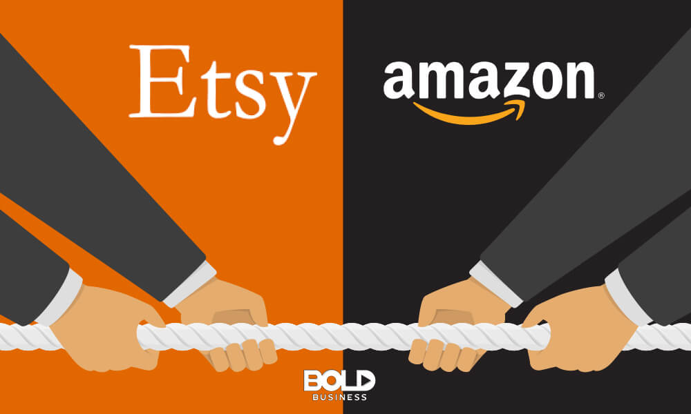 two pairs of hands having a tug-of-war in the battle of Amazon Storefronts and Etsy