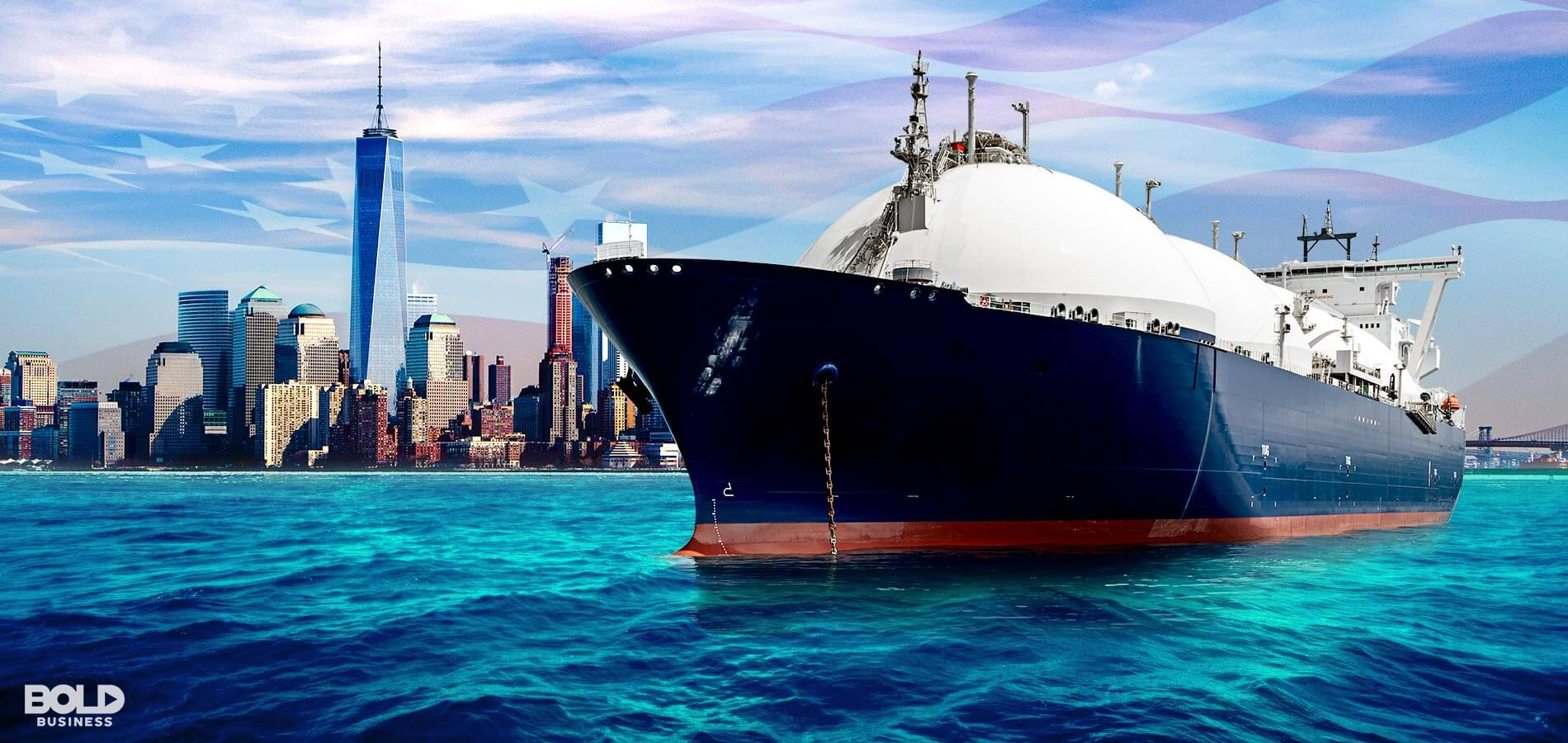 a ship used in US Natural Gas Exports berths in a city harbor