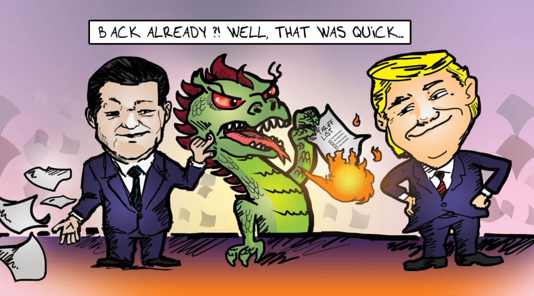 cartoon of a dragon burning a paper containing the tariff list while standing between Xi Jinping and Donald Trump, depcting the fact that the China oil import from the U.S. resumed after the tax policy change