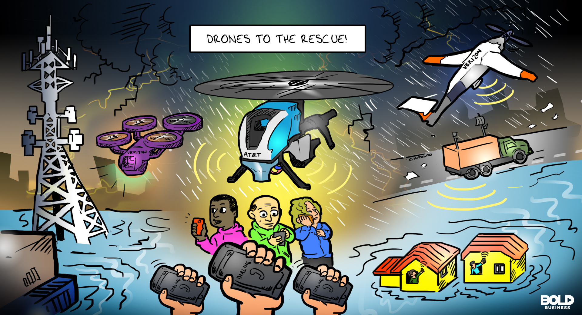 cartoon showing AT&T and Verizon drones being used as portable cell towers during calamities like floods and hurricanes