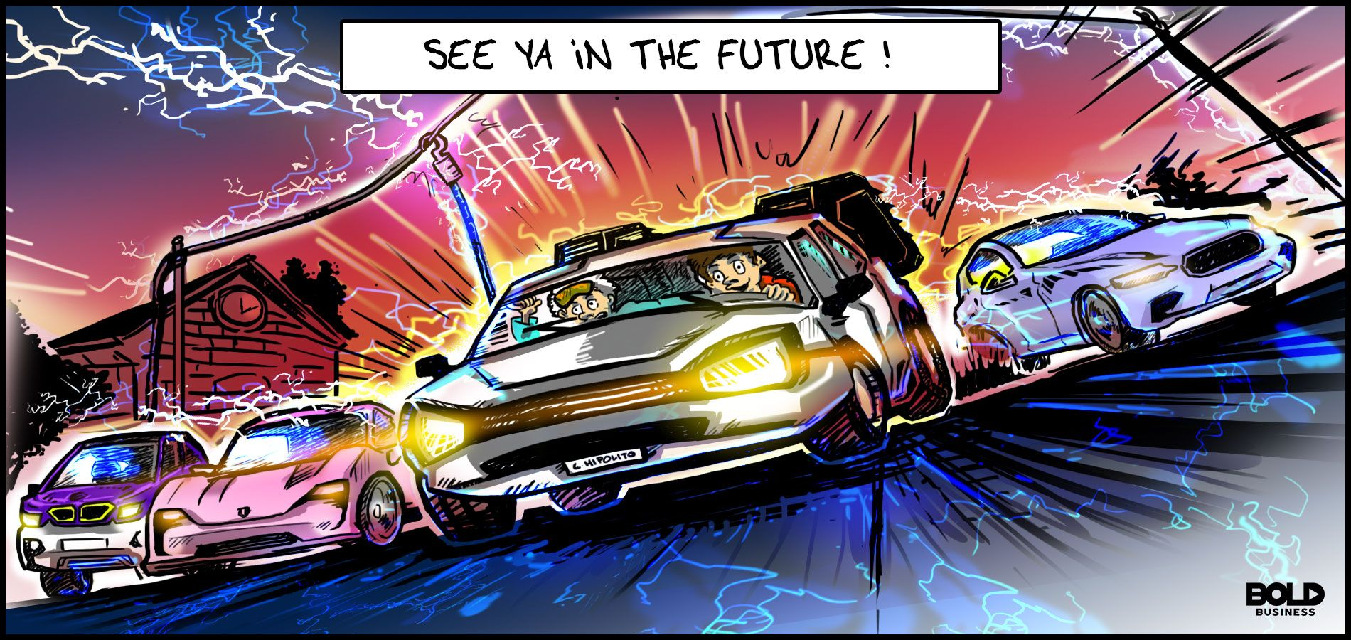 cartoon of four electric cars revving their engines to speed through a suburban main road as they engage in electric car sales war